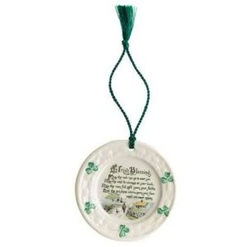 Belleek 2906 Irish Blessing Ornament, 3.3-Inch, (Miniature Christmas Plate)