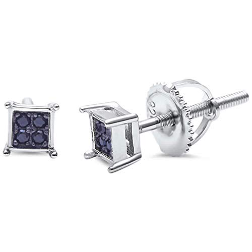 Sterling Silver Square Simulated Black Onyx Stud Earrings