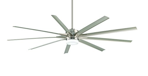 Fanimation Odyn - 84 inch - Brushed Nickel with Brushed Nickel Blades with LED Light Kit and Remote - Wet Rated - 220V - FPD8148BN-220
