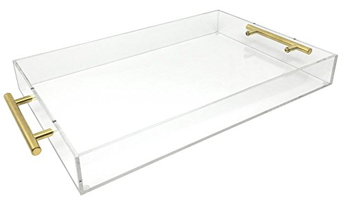 Isaac Jacobs Clear Acrylic Tray with Handle (11x17, Clear with Gold - Jacobs Gold