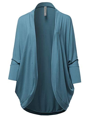 Premium 3/4 Sleeve Loose Cocoon Open Front Pocket Cardigan Titanium L