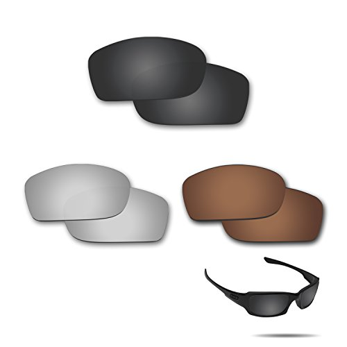 Fiskr Anti-saltwater Polarized Replacement Lenses for Oakley Fives Squared 3 pair - Fives Oakley Replacement Lenses Polarized