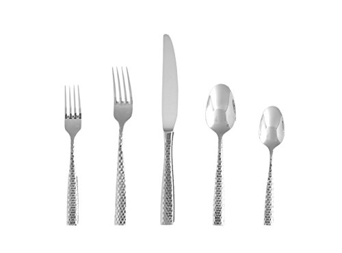 Fortessa Lucca Faceted 18/10 SS Flatware Set, Service for 4,