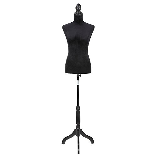 Homegear Female Lady Mannequin Torso Form with Tripod Stand for Displays / Photography BLACK / WHITE / PATTERN (Black)
