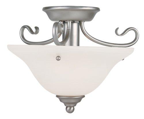- Livex Lighting 6109-91 Coronado 1 Light Brushed Nickel Semi Flush with White Alabaster Glass