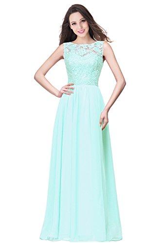 Babyonlinedress Vestido largo para fiesta de noche para boda estilo ajustado y elegante escote redondo sin mangas espalda de cierre vestido clásico de chiffón y encaje Verde