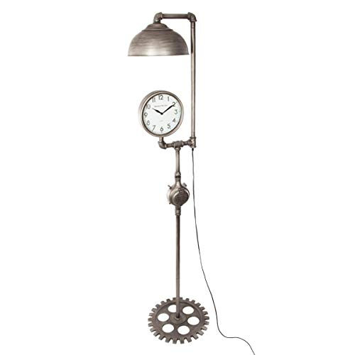 Atmosphera – 2 en 1 Gran lámpara de pie con reloj – estilo industrial – Alto 188 cm – Color estaño