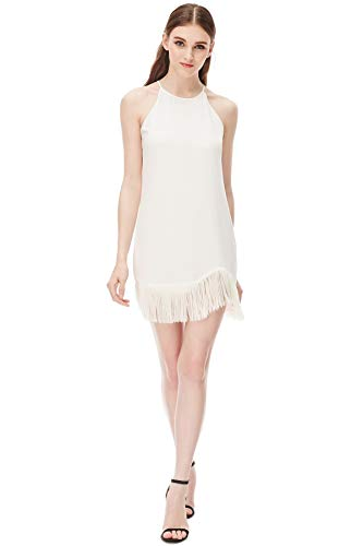 Naked Zebra Women's Laser Cut Fringe Dress Off White