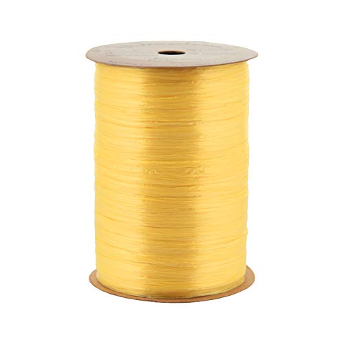 Berwick Offray Daffodil Yellow Pearlized Raffia Ribbon, 1/4'' Wide, 100 - Ribbon Raffia Pearlized Rayon
