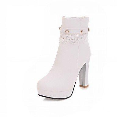 RTRY Zapatos de mujer polipiel Primavera Moda Invierno botas botas Chunky talón puntera redonda botines/botines de cremallera para oficina informal &Amp; Carrera US6 / EU36 / UK4 / CN36