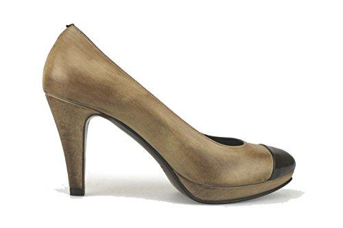 CALPIERRE Zapatos de salón beige marrón oscuro cuero cuero de ante AJ398