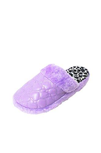 Femmes Moelleux Matelassé Coeur Doux Impression Scruff Pantoufles De Diapositive Faux Cisaillement Nongrid (sl-725) Violet