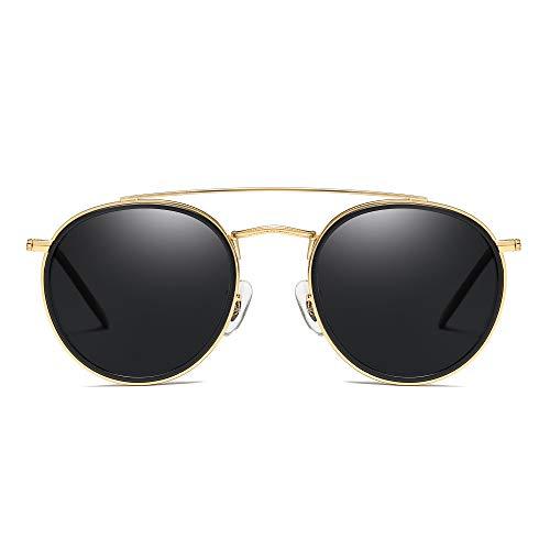 JIM HALO Small Polarized Round Sunglasses for Women Vintage Double Bridge Frame (Gold Frame/Polarized Grey ()