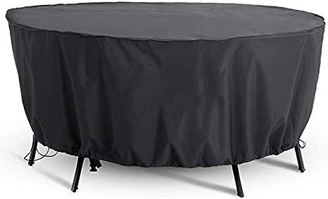 BESTINE Cubierta Muebles Exterior, Cubierta Redonda Mesa Jardín Impermeable A Prueba Viento Impermeable Anti-UV Negro Juego Patio Circular Exteriores 128 * 71 cm / 210D Protección Duradera