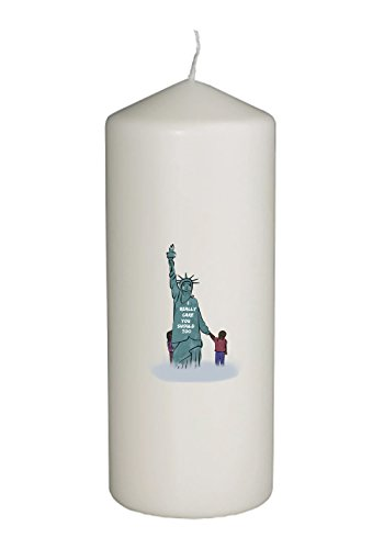 (Hat Shark Statue of Liberty Supporting Children Keeping Families Together First Lady Parody Thick White in Full Color Unity Candle - Baptism, Funeral, Special Event Decoration (6 inches tall) )
