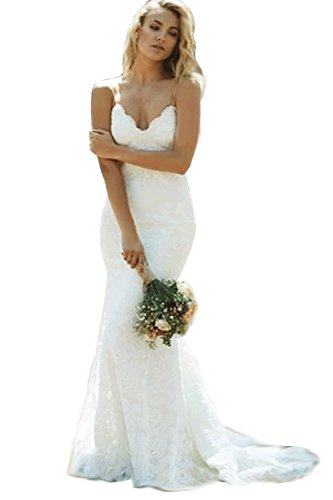 Modeldress Women's Mermaid Lace Spaghetti Straps Beach Wedding Dresses Bridal Maxi A-Ivory US 2