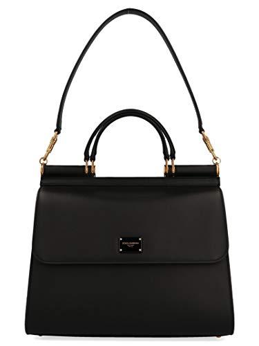 Luxury Fashion   Dolce E Gabbana Woman BB6621AV38580999 Black Leather Handbag   Season Permanent