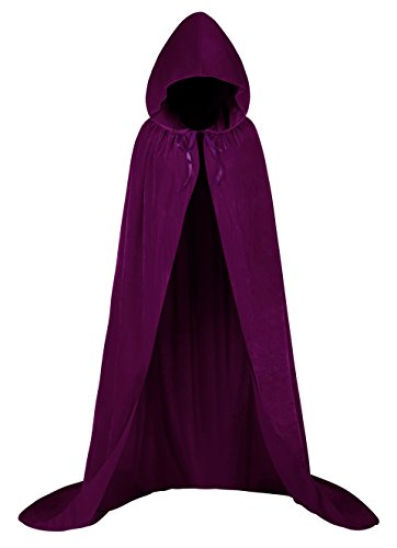 Evil Vampire Queen Costumes (Unisex Halloween Full Length Hooded cloak Cosplay Dress Velvet Cape Vampire Witch Devil Costume Cloak, Purple 59 Inches)