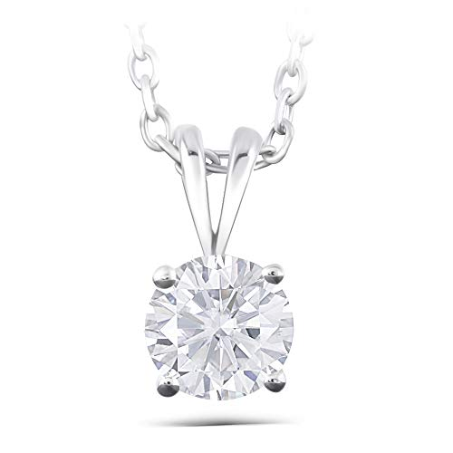 14K White Gold 1ct 6.5mm GH Color Heart Arrows Cut Moissanite Solitaire Pendant Necklace with Platinum Plated Silver Chain for Women
