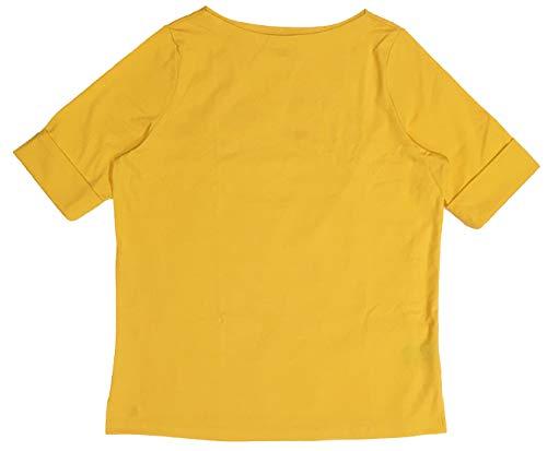 LAUREN RALPH LAUREN Plus Size Boatneck Stretch Cotton Tee Top (1X, Saffron Yellow)