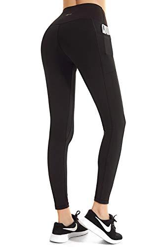 FETY Women's High Waist Leggings Full-Length Yoga Pants with Side/Hidden