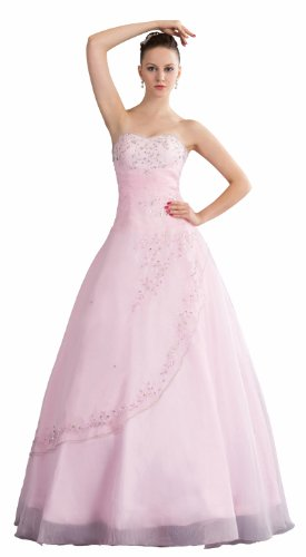 ImPrincess ip4-5233-0 Wedding Dress Romantic Style Dipped Strapless Tie Delicate Beading Embroidery Long Sweep Ball gown Pink (Taffeta Dress Tie Strapless)