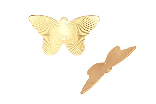 Laser Charm, Radian Butterfly 16K Gold-Finished Gold-Finished Brass 14x24mm sold per pack of 20 (2pack bundle), SAVE $1
