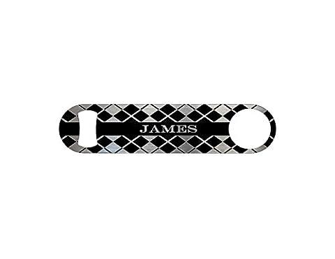Argyle Personalized Groomsmen Wedding Gift Bottle Opener / Bar Blade By Bottoms Up Flasks - Stainless Steel - BtlOpener - Argyle Purse