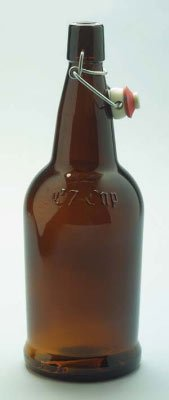 1 Liter EZ Cap Amber Glass Bottles w/ Swing Tops