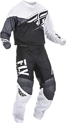 Fly Racing - 2019 F-16 (Mens Black & White & Grey X-Large/36W) MX Riding Gear Combo Set, Motocross Off-Road Dirt Bike Light Weight Durable Jersey & Mesh Comfort Liner Stretch Pre Shaped Knees Pant