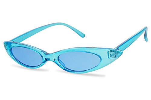 Retro Slim Vintage Wide Oval Cat Eye Pointy Small Thin Clout Sunglasses Mod Chic Shades (Blue Frame | Blue)