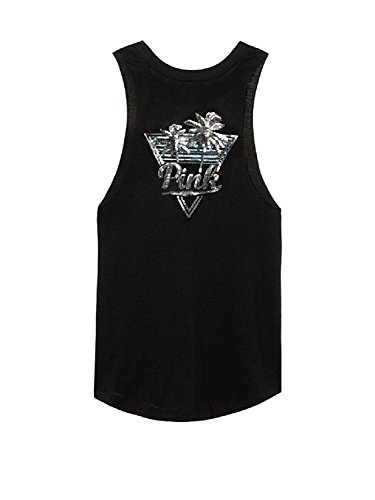 - Victoria's Secret, Pink Bling Muscle Tee Tank Top Palm Graphic (X-Small, Black)