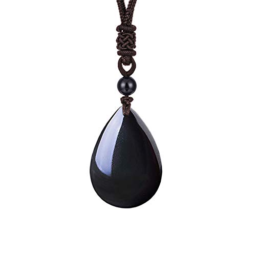 OCARLY 925 Black Obsidian Drop Pendant with Faint Rainbow Eyes Necklace Amulet Gemstone Stainless Steel/Titaniu/925 Chain Necklace ()