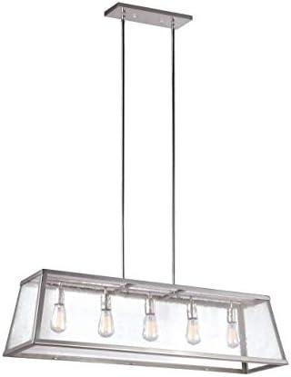 Feiss F3073 5PN Harrow Island Chandelier Lighting with Glass Shades, Chrome, 5-Light 44 L x 13 H 300watts