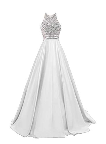 HEIMO Women's Sequins Evening Party Gowns Beading Formal Prom Dresses Long H187 4 White