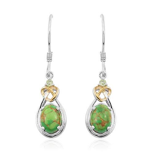 14K Yellow Gold Green Turquoise Peridot Dangle Drop Earrings for Women