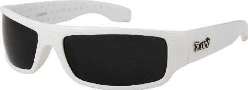 LOCS White Hardcore Sunglasses JE3009W + Free Micro Fiber (White Ganster)