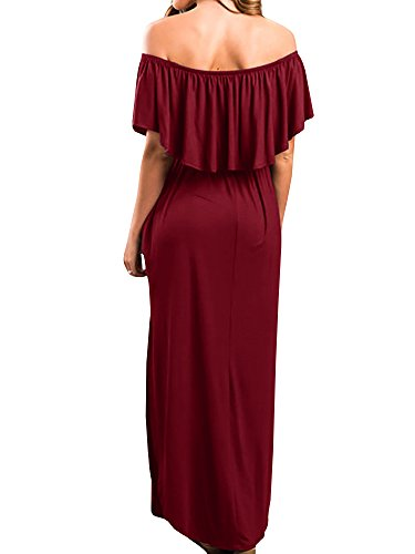 Shoulder P Casual Size Plus Burgundy Womens Pockets Dresses Ruffle Summer Off with The Maxi xAnn47w