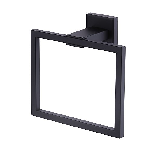 KES Towel Ring Bathroom Shower Towel Hanger Holder Matte Black SUS 304 Stainless Steel Modern Square Style Wall Mount, A2480-BK (Black Ring Holder)