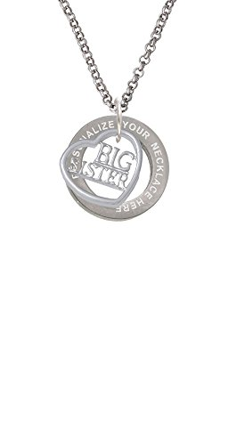 Big Sister in Open Heart - 5/8'' Custom Engraved Affirmation Ring Necklace (Pendant Jewelry 5/8' Round)