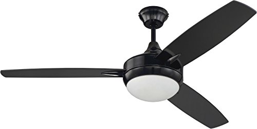 Craftmade 3 Blade Ceiling Fan Black with Dimmable LED Light and Wall Control TG52GBK3 Targas 52 Inch