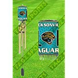 "Jacksonville Jaguars, NFL, Chimes, Each Wind Chime Is All Metal with a Brass or Chrome Finish. Measures 33"" in Length"