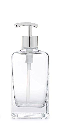 Casa Glass Soap Dispenser with Metal Pump (Chrome Modern) (Chrome Dispenser Square Soap)