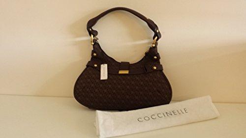 COCCINELLE HAND MADE borsa a mano donna size M in vero cuoio e tessuto colore moro – 38X20X5cm