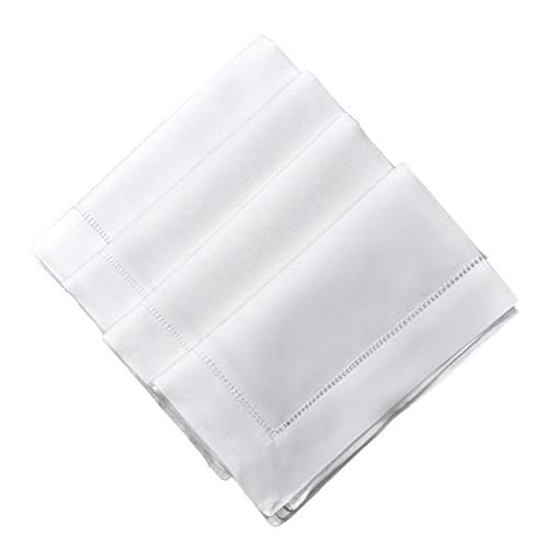 White Linen Hemstitched Dinner Napkins Set of 4 20'' X 20'' Ladder Hem Stitch Cloth Napkin by Bumblebee Linens