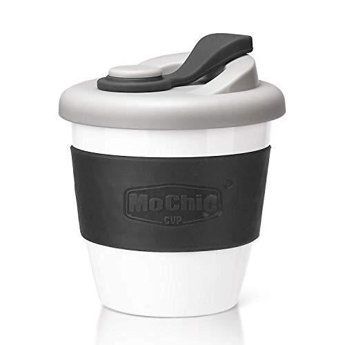 MoChic Reusable Coffee Mug PLA Coffee Cup with Lid Natural Biodegradable Eco Friendly Travel Mug BPA Free Dishwasher and Microwave Safe (Charcoal Gray, 8 OZ)