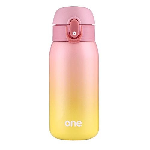Mini Water Bottle for Kids& Adult, Vacuum Insulated Bottle, Travel Coffee Cup, Stainless Steel Thumbler, Ombre Bottle, Ombre - 320ml/ 11oz (Pink-Yellow)