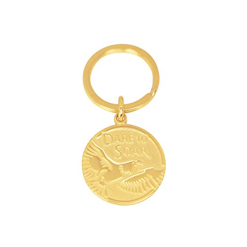 Divoti Pre-engraved PVD Gold Eagle Keychain/Key Holder -Isaiah 40:31- Key Medal Tag w/Split Ring– Spiritual/Motivational/Scout Gifts