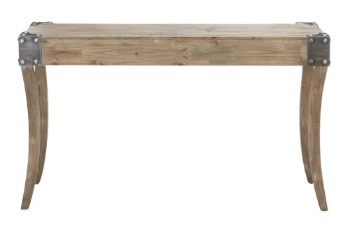 - Deco 79 Console Table with Metal Bolts on Corners with Curved Legs, Brown