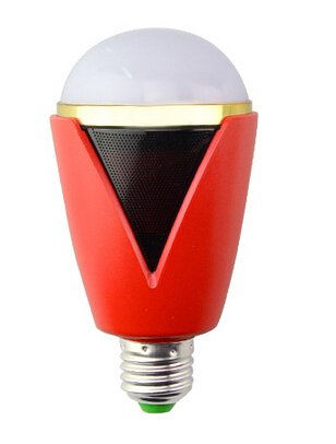 Bluetooth Smart LED Light Bulb Speaker Dimmable Multicolored Color Changing LED Bedside Desk Lights Bar Sinks - Smartphone Controlled (White+red)